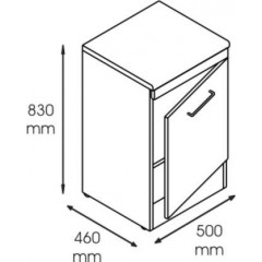 Dulap metalic cabinet medical/stomatologic cu o usa si polita, 500x460x830 mm