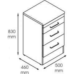 Dulap metalic cabinet medical/stomatologic cu 3 sertare, 500x460x830 mm