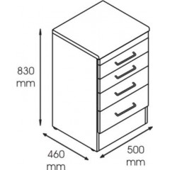 Dulap metalic cabinet medical/stomatologic cu 4 sertare, 500x460x830 mm
