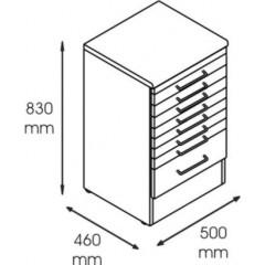 Dulap metalic cabinet medical/stomatologic cu 8 sertare, 500x460x830 mm
