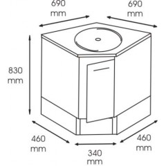 Masca chiuveta cabinet medical/stomatologic de colt cu usa, 340x460x690x830 mm