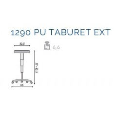 Scaun profesional 1290 Pu Taburet EXT