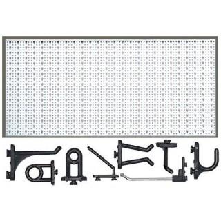 STT1 Panou perforat metalic alb orizontal, 1000x500 mm cu set 50 carlige