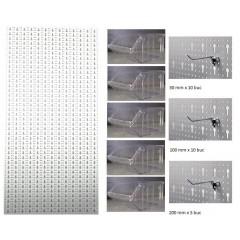 B3-2 Panou perforat vertical alb, 500x1000 mm cu set accesorii
