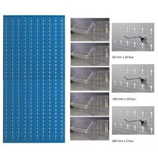B3-4 Panou perforat vertical albastru, 500x1000 mm cu set accesorii