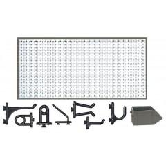 C1-1 Panou perforat orizontal alb, 1000x500 mm cu set accesorii