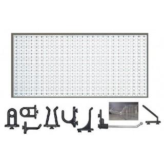 D3-1 Panou perforat orizontal alb, 1000x500 mm cu set accesorii
