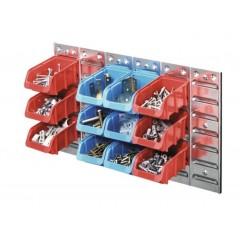 Set panou perforat metalic cu 12 casete de organizare 630x380 mm