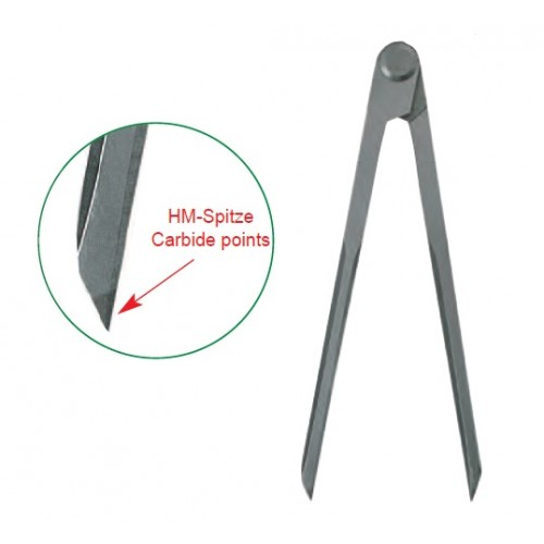 Compas simplu de trasaj cu varfuri carbura, 100 - 400 mm