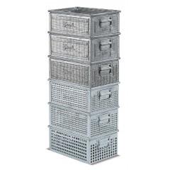 Cutie depozitare perforata, cu manere, 450x300x200 mm, Ø 3 mm