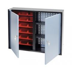 Dulap suspendat 800x600x190 mm, cu 2 usi, 2 polite si 18 casete