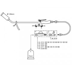 Arzator cu gaz F10 Ø60mm, furtun 5m