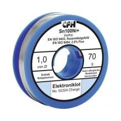 Fludor (cositor cu sacaz) Sn100Ni Ø1mm 70g, pentru electronica fina, fara plumb