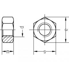 Piulite hexagonale simple M3-M20 DIN934 otel inox A2, 10 bucati