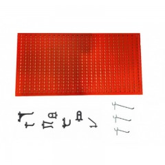 Panou perforat orizontal rosu, 1000x500mm cu set 65 carlige