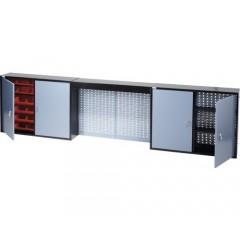 Dulap suspendat 2400x600x200 mm, cu 4 usi, 4 polite, 36 casete si panou perforat