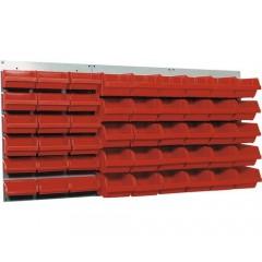Suport casete de organizare1200x600 mm, incl. 48 casete rosii