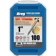 Suruburi cu gaura de buzunar 25 mm, zincate, Maxi-Loc™, 100 buc , KREG®