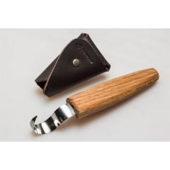 SK1S Cutit de cioplit linguri 25mm, cu maner de stejar si in teaca de piele, BeaverCraft